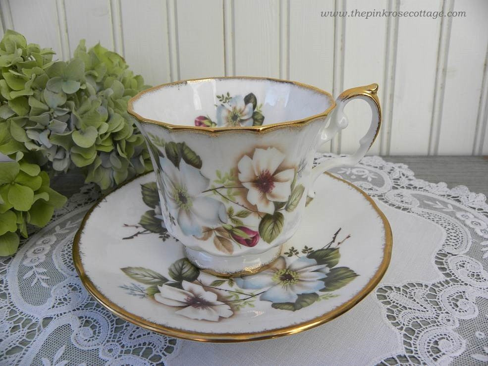 Vintage Elizabethan White and Blue Wild Roses Teacup and Saucer - The Pink Rose Cottage