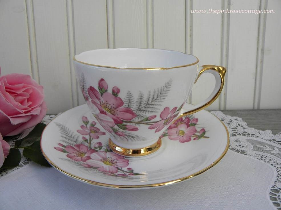 Vintage Pink Spring Blossom Teacup and Saucer - The Pink Rose Cottage