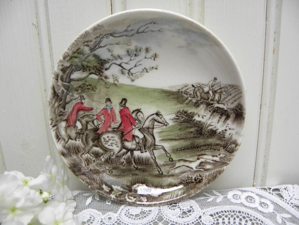 Vintage Johnson Bros Friendly Village Coaster Butter Pat - English Hunting Scene - The Pink Rose Cottage