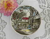 Vintage Johnson Bros Friendly Village Coaster Butter Pat - Apple Tree and Cottage - The Pink Rose Cottage