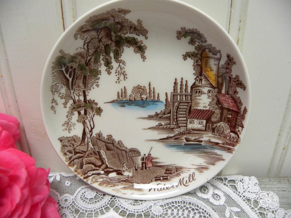 Vintage Johnson Bros Friendly Village Coaster Butter Pat - Water Mill - The Pink Rose Cottage