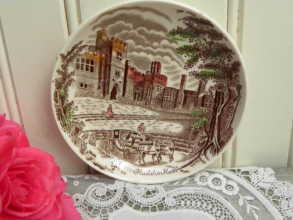 Vintage Johnson Bros Friendly Village Coaster Butter Pat - Haddon Hall - The Pink Rose Cottage