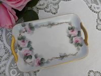Vintage Hand Painted Pink Rose Handled Pin Dish - The Pink Rose Cottage