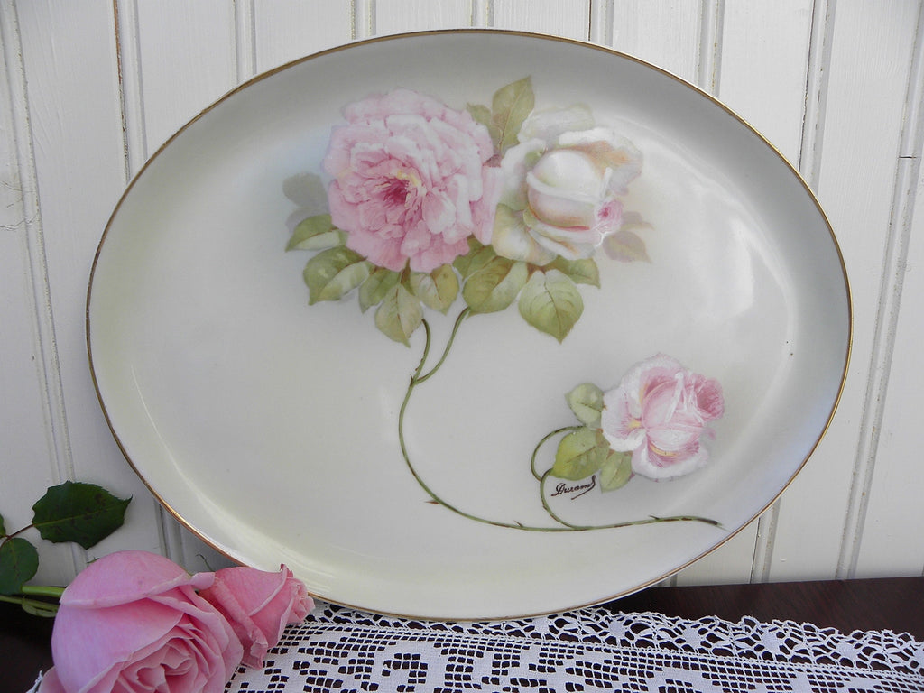 Vintage Hand Painted And Signed Pink Roses Vanity Tray