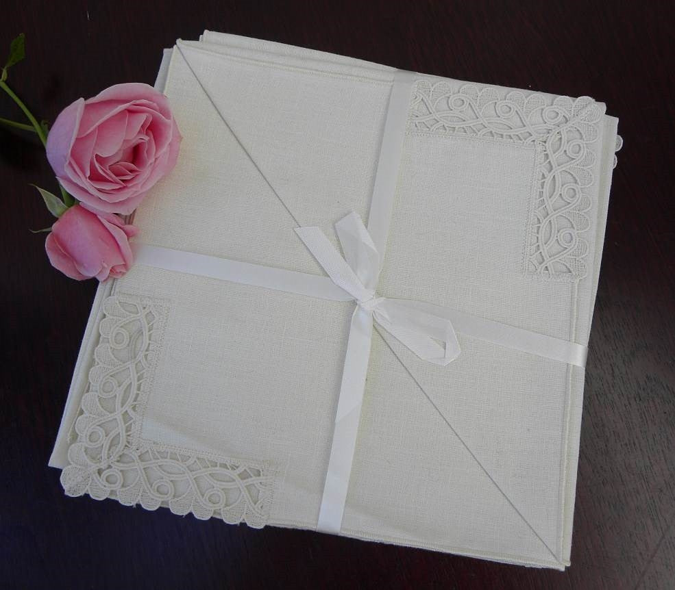 Set of 6 Unused Vintage Linen and Lace Napkins - The Pink Rose Cottage
