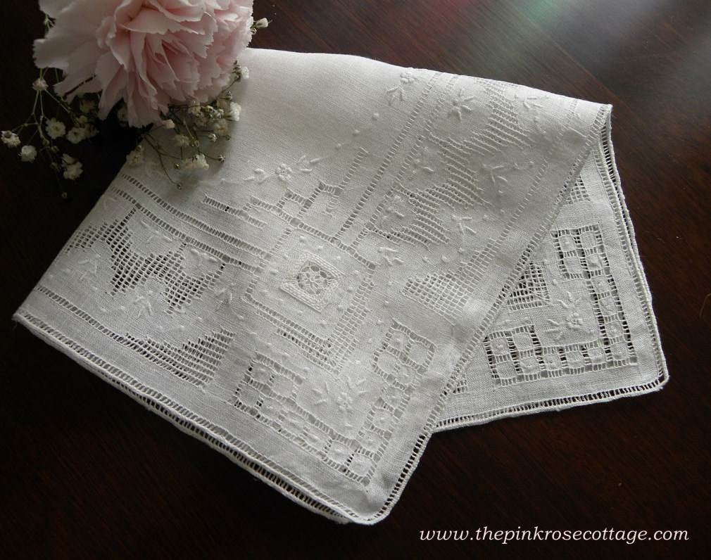 Vintage Whitework Pullwork Embroidered Linen Bridal Wedding Handkerchief - The Pink Rose Cottage