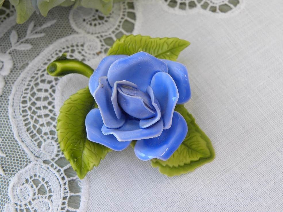 Vintage Enameled Blue Rose Pin Brooch - The Pink Rose Cottage
