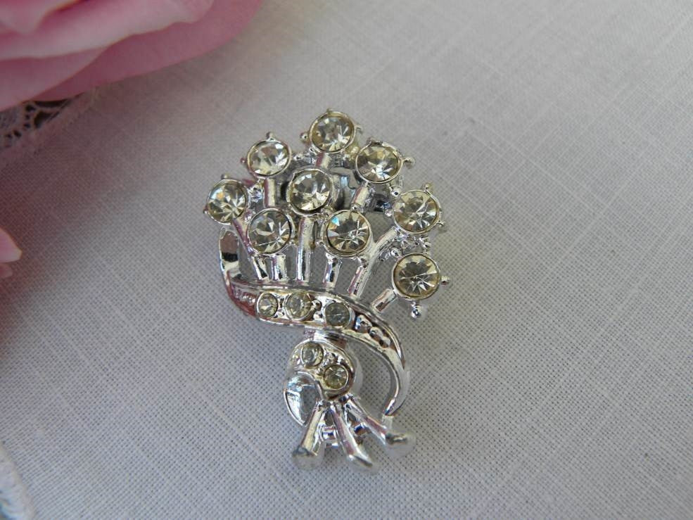 Vintage Rhinestone Bouquet Brooch Pin - The Pink Rose Cottage
