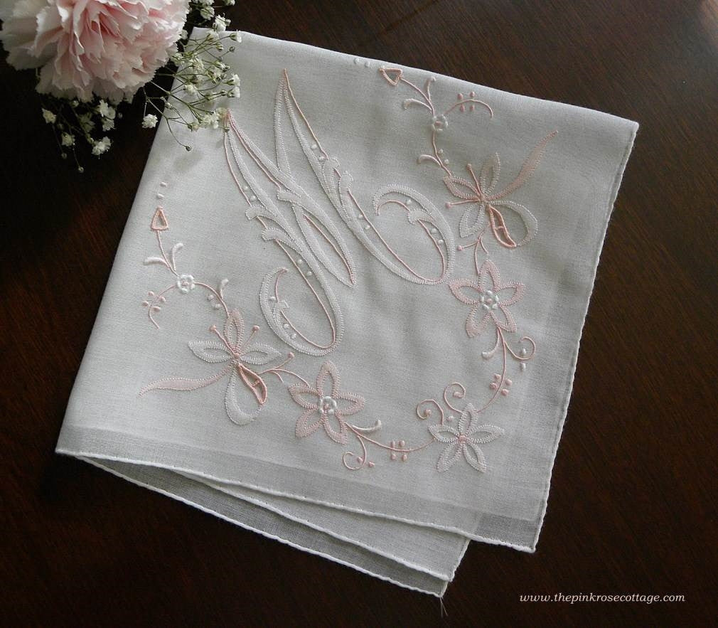 Vintage Madeira Wedding Bridal Embroidered Monogrammed M Handkerchief - The Pink Rose Cottage