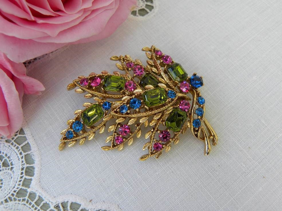 Vintage Colorful Rhinestone Leaf Brooch Pin - The Pink Rose Cottage