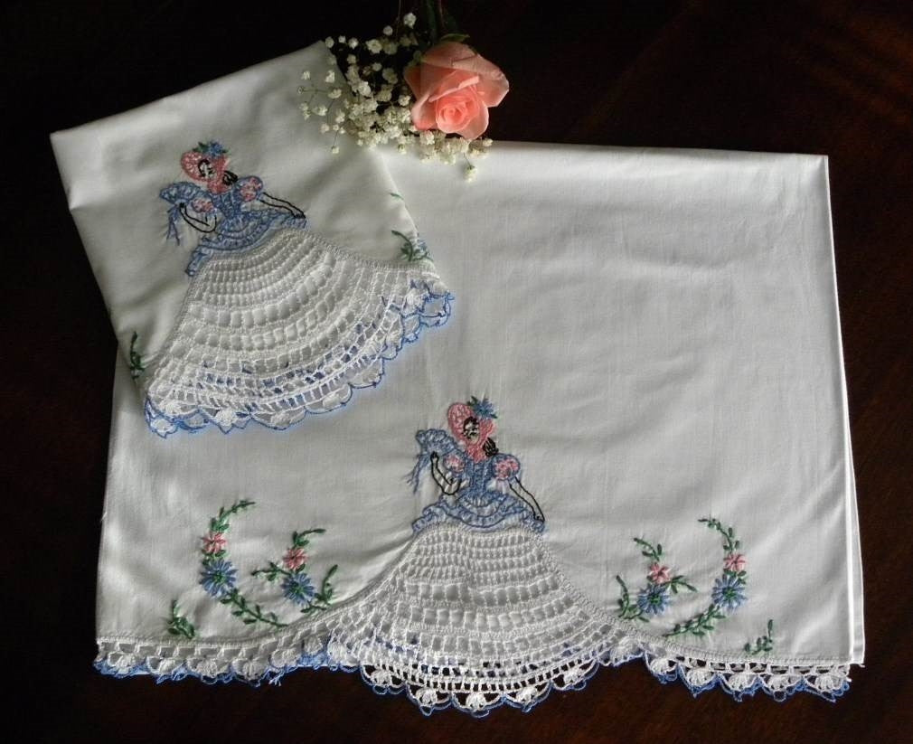 Vintage Pillowcases with Crocheted and Embroidered Southern Belle Blue - The Pink Rose Cottage