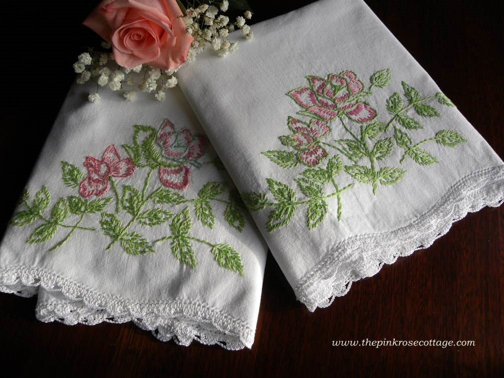 Vintage Pillowcases Embroidered with Pink Roses - The Pink Rose Cottage