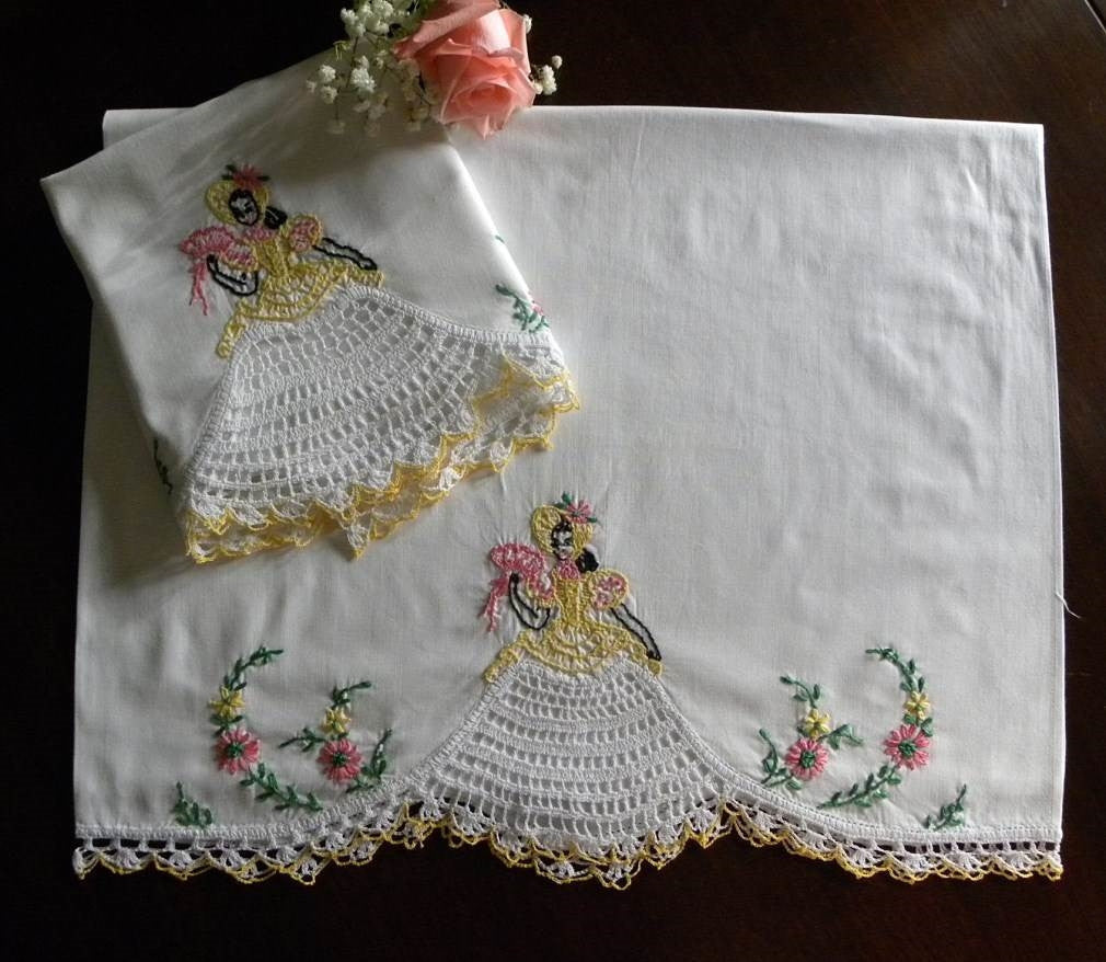 Vintage Pillowcases With Crocheted And Embroidered Southern Belle
