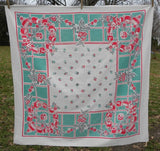 Vintage Pots and Pans Wreath Tablecloth in Teal and Red - The Pink Rose Cottage
