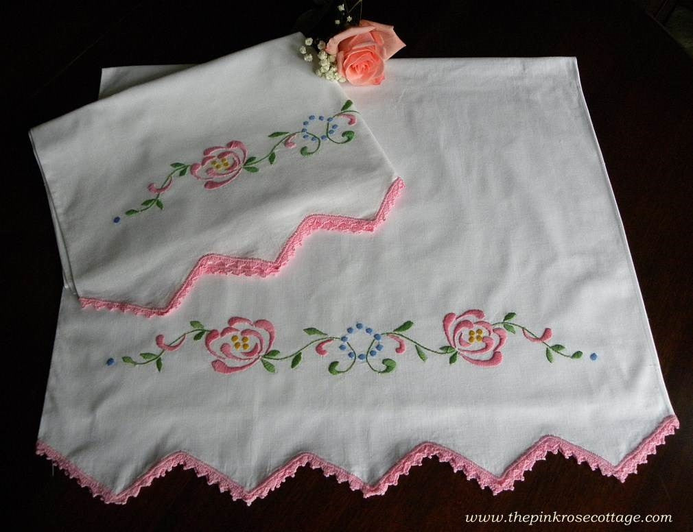 Vintage Embroidered Pink Rose Garland with Pink Trim Pillowcases - The Pink Rose Cottage