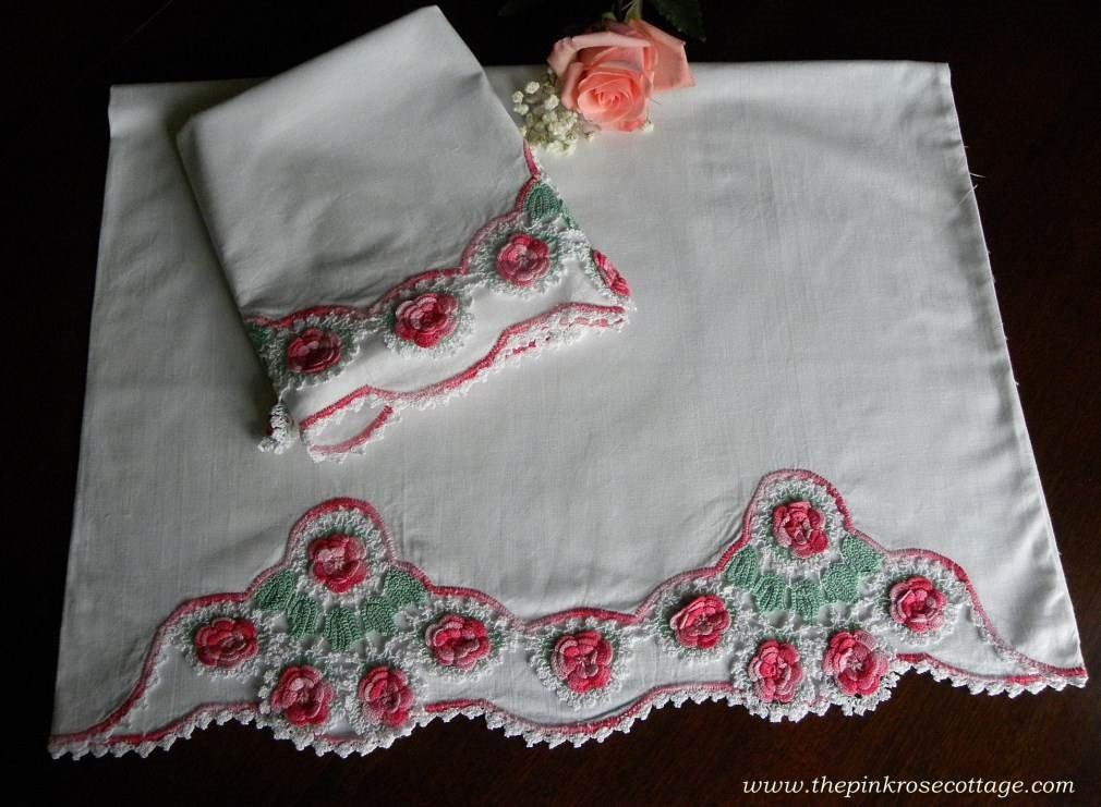 Vintage Pink Crocheted Irish Rose Pillowcases - The Pink Rose Cottage