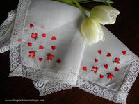 Vintage Tagged Lady Heritage Valentines Handkerchief with Embroidered Hearts and Roses - The Pink Rose Cottage