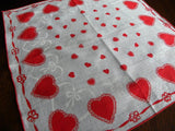 Vintage Valentine's Day Handkerchief with Lacy Hearts and Ribbons - The Pink Rose Cottage