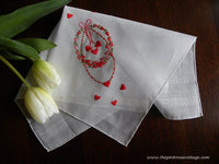 Vintage Tagged Lady Heritage Valentines Handkerchief Embroidered Garland Roses and Hearts - The Pink Rose Cottage