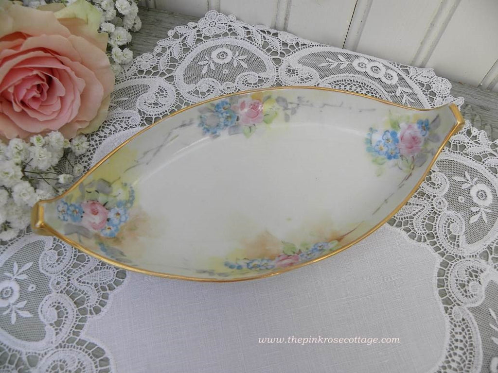 Vintage Hand Painted Pink Rose Forget Me Nots Tidbit Dish - The Pink Rose Cottage