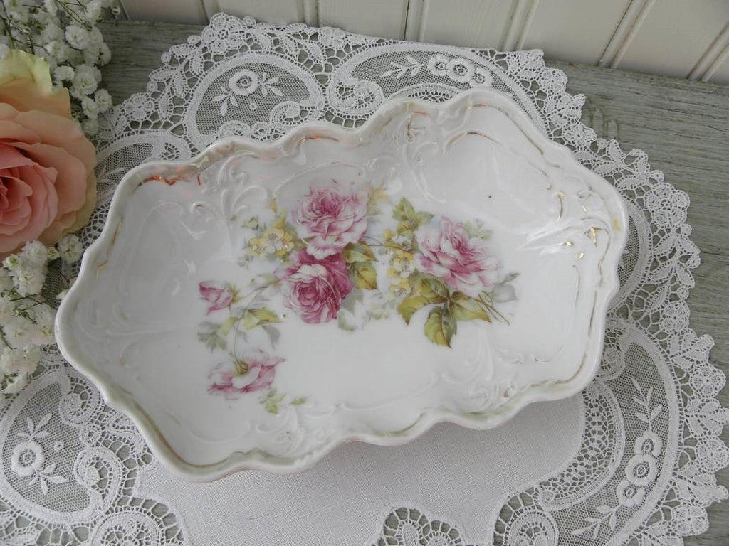 Vintage Pink Rose and Buttercup Tidbit Dish - The Pink Rose Cottage