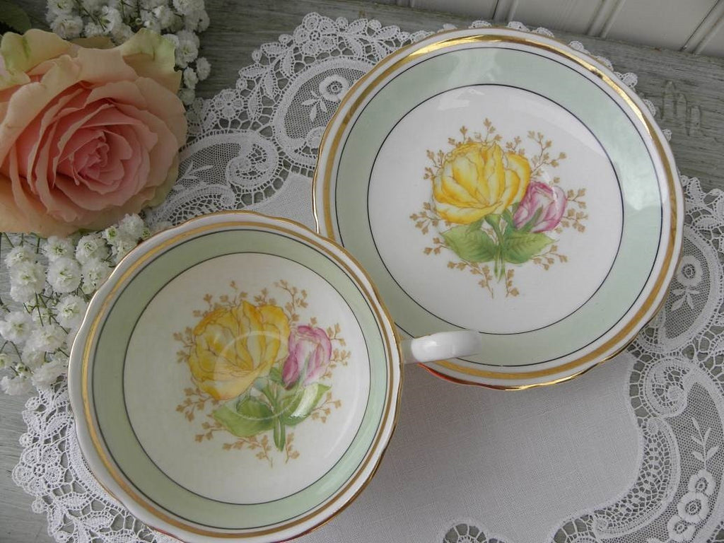 Vintage Light Green Teacup and Saucer with Yellow and Pink Roses - The Pink Rose Cottage