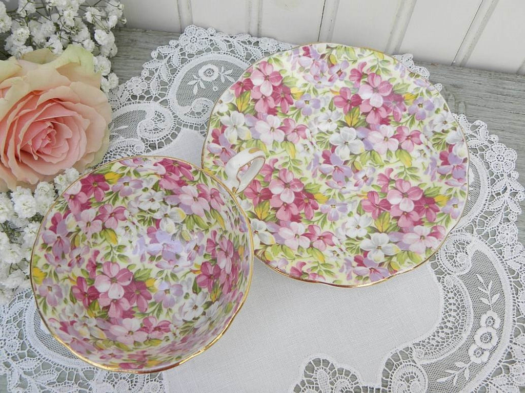 "Vintage Royal Standard ""Virginia Stock"" Chintz Violets Teacup and Saucer - The Pink Rose Cottage"
