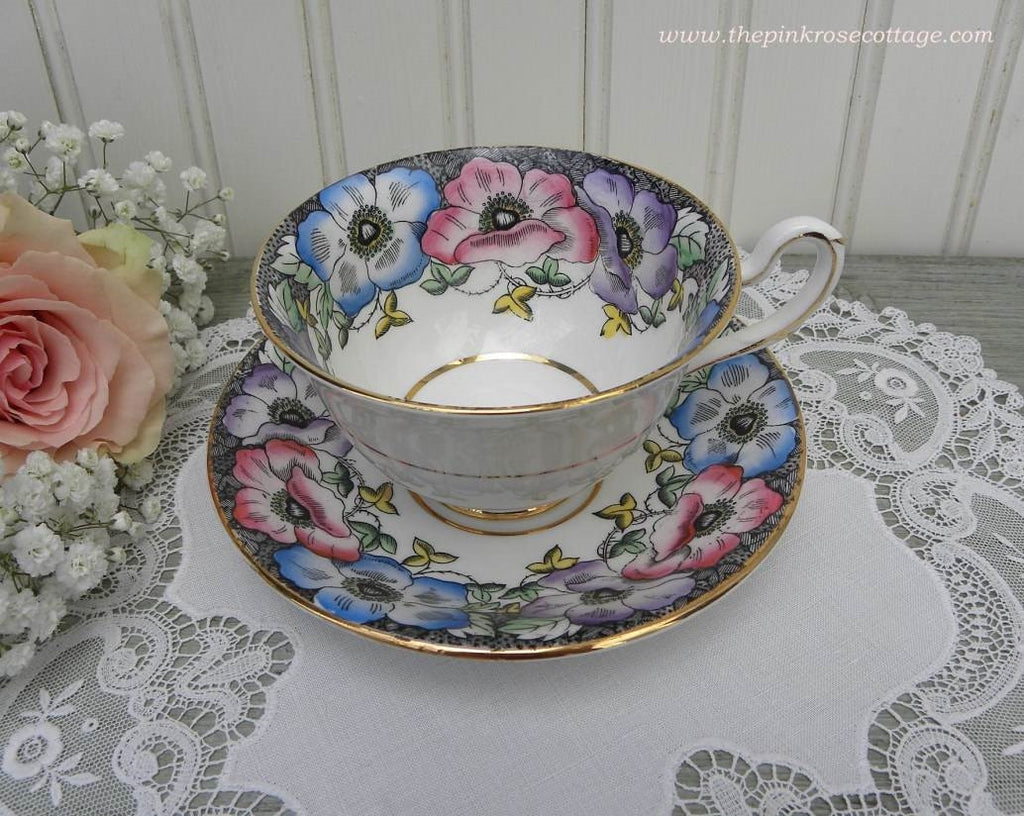Vintage Taylor & Kent Black Teacup and Saucer with Bright Anemones - The Pink Rose Cottage