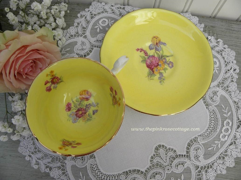 Vintage Yellow Teacup and Saucer with Pink Roses and Wildflowers - The Pink Rose Cottage