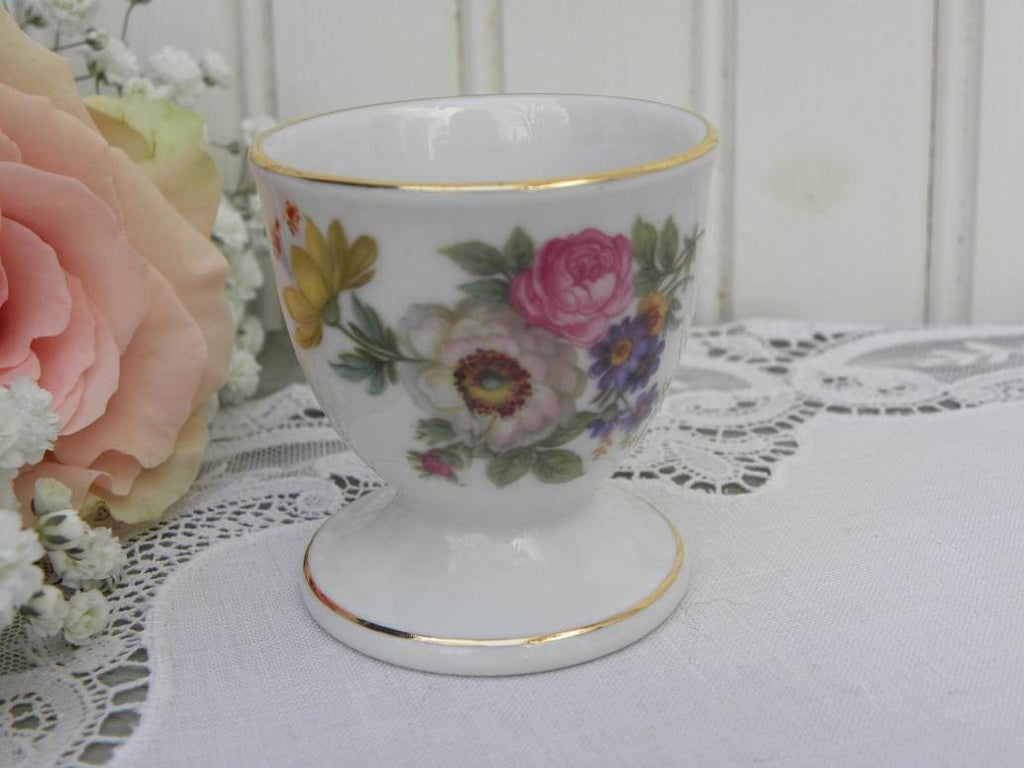 Vintage Pink and White Rose Wildflower Eggcup Germany - The Pink Rose Cottage
