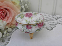 Vintage Lefton Pink Rose Chintz Vanity Ring Trinket Box - The Pink Rose Cottage