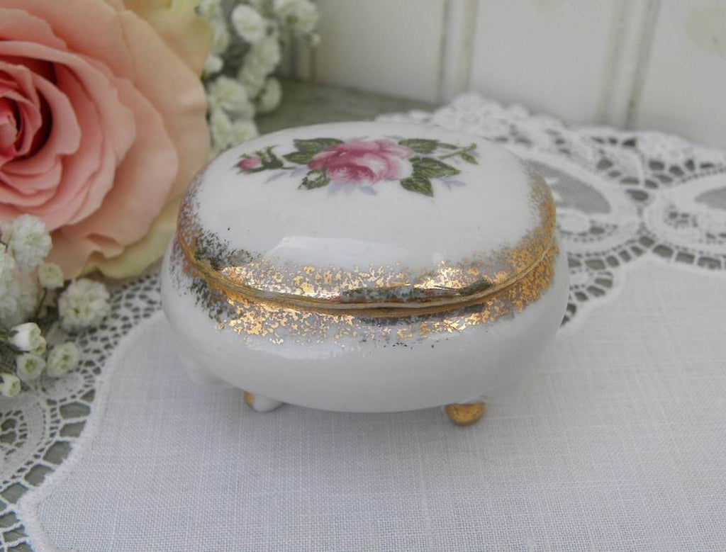 Vintage Pink Rose Vanity Ring Trinket Box - The Pink Rose Cottage