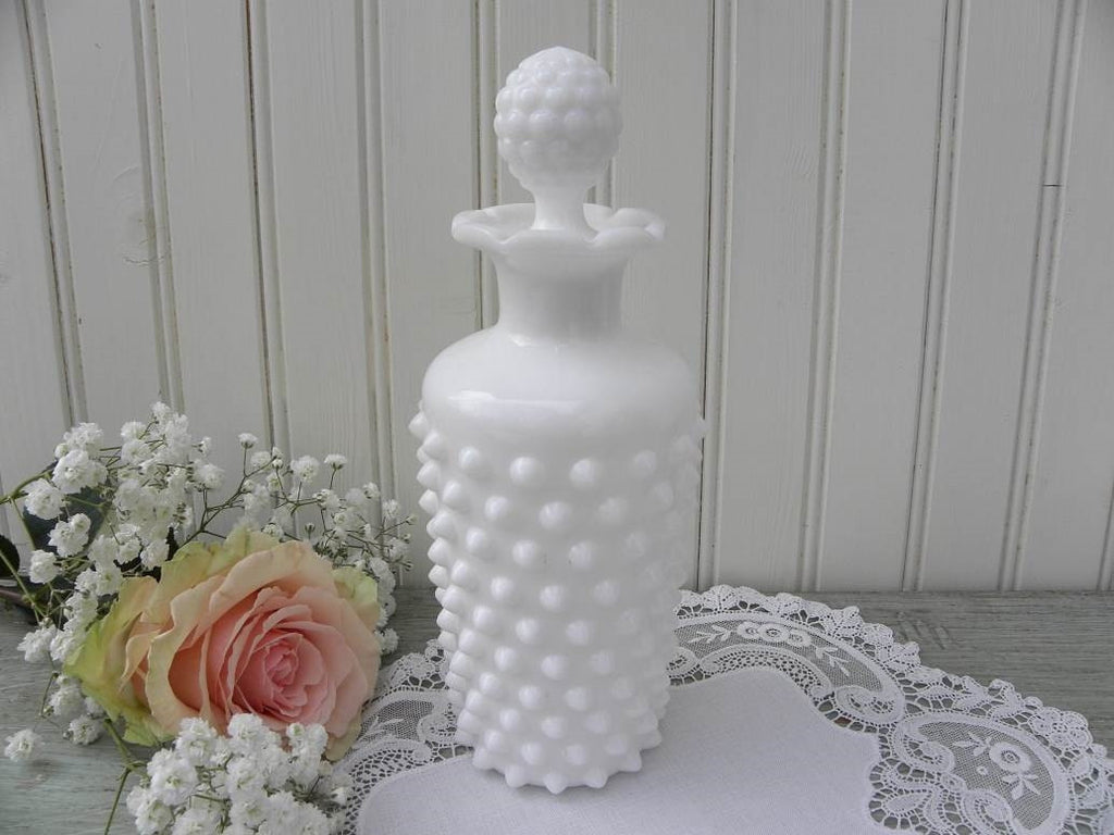 Vintage Imperial Milk Glass Hobnail Vanity Perfume Bottle - The Pink Rose Cottage