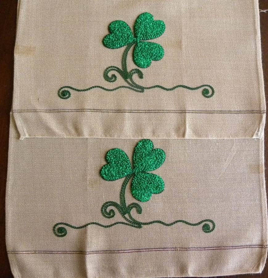 Vintage 3 Piece Crewel Embroidered Shamrock St Patrick S Day Tea