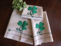 Vintage 3 Piece Crewel Embroidered Shamrock St. Patrick's Day Tea Towels and Runner - The Pink Rose Cottage
