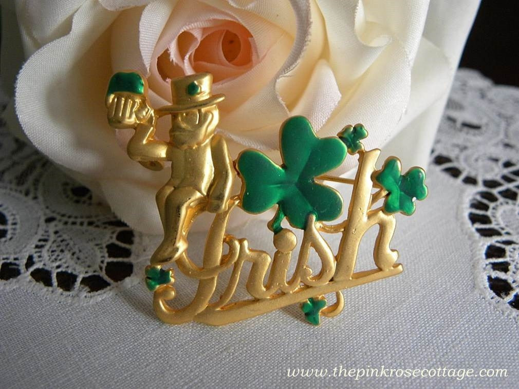 "Vintage L.S.. St. Patrick's Day ""Irish"" Shamrock Pin Brooch - The Pink Rose Cottage"