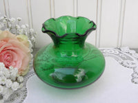 Vintage Anchor Hocking Depression Glass Forest Green Vase - The Pink Rose Cottage