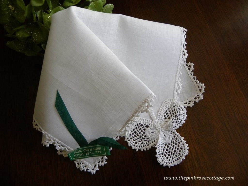 Vintage MWT Irish Linen Crocheted Shamrock St. Patrick's Day Bridal Handkerchief - The Pink Rose Cottage