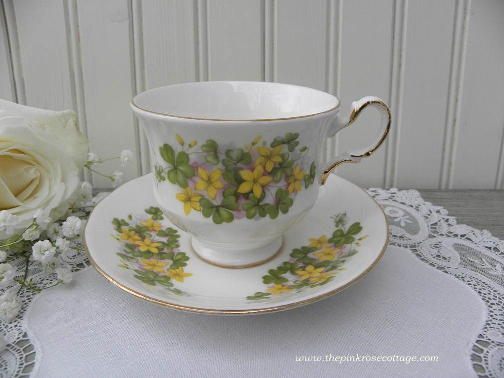 Vintage Queen Anne Sharmock Clover Buttercup Teacup and Saucer - The Pink Rose Cottage