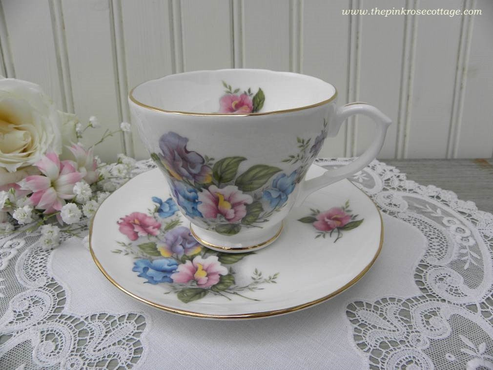 Vintage Pink Blue and Purple Sweet Pea Teacup and Saucer - The Pink Rose Cottage