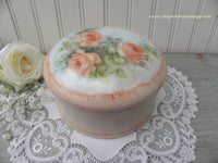 Vintage Hand Painted Coral Roses Dresser Jewelry Trinket Box - The Pink Rose Cottage