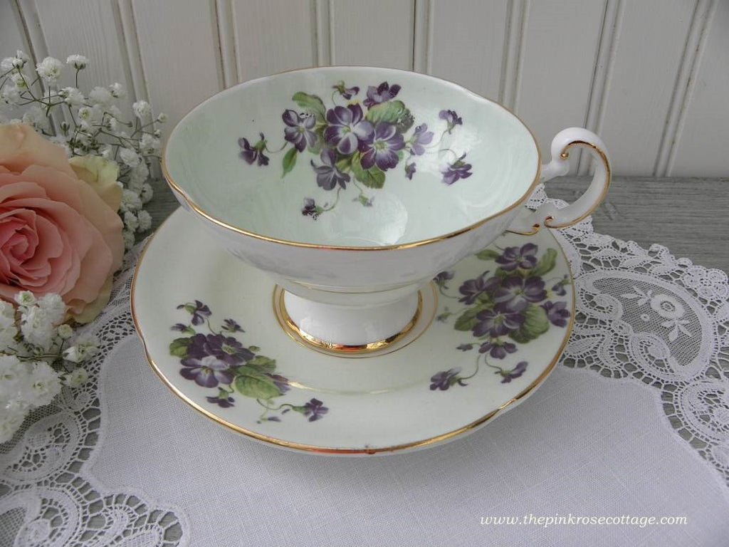 Vintage Soft Green Teacup and Saucer with Purple Cottage Violets - The Pink Rose Cottage