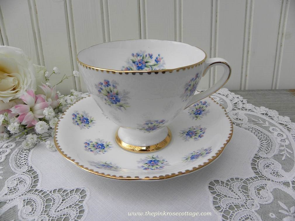 "Vintage Gladstone ""Forget-Me-Not"" Teacup and Saucer - The Pink Rose Cottage"