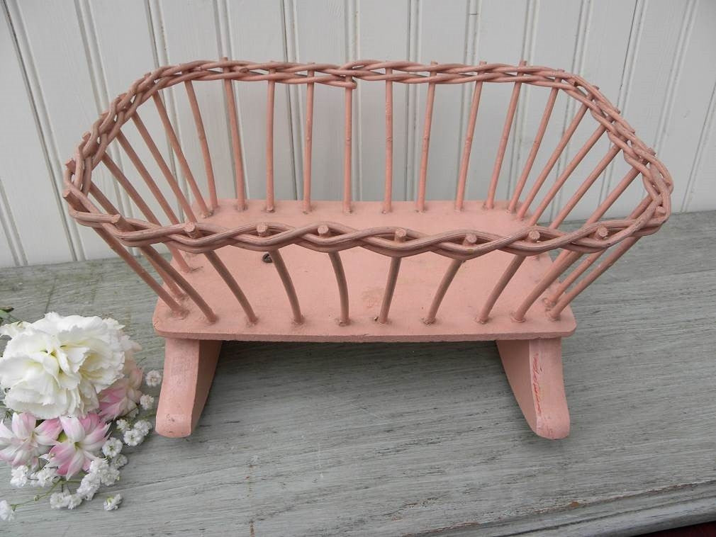 Vintage Pink Wicker Childs Doll Bed Cradle - The Pink Rose Cottage