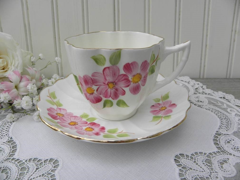 Vintage Victoria Pink Apple Blossoms Teacup and Saucer - The Pink Rose Cottage