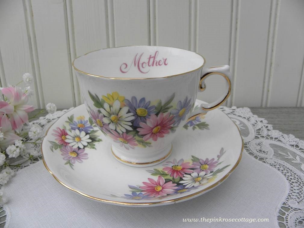 "Vintage Tuscan ""Mother"" Mother's Day Teacup and Saucer with Daisies - The Pink Rose Cottage"
