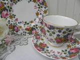 "Vintage Sadler Wellington ""Olde Chintz"" Pink Roses Teacup Saucer and Dessert Plate - The Pink Rose Cottage"