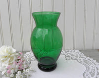 Vintage Anchor Hocking Depression Glass Forest Green 6 Inch Vase - The Pink Rose Cottage