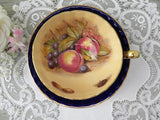 Vintage Signed Ansley Cobalt Blue Fruits Nuts and Berries Teacup and Saucer - The Pink Rose Cottage