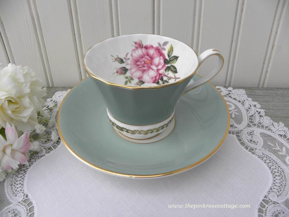 Vintage Aynsley Green Teacup and Saucer with Large Pink Rose - The Pink Rose Cottage